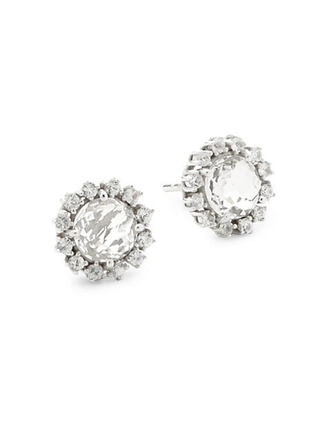 Suzanne Kalan SAPPHIRE, WHITE TOPAZ AND 14K WHITE GOLD STUD EARRINGS