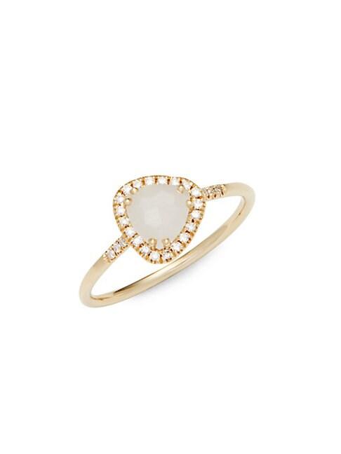 WHITE MOONSTONE, DIAMOND AND 14K YELLOW GOLD RING