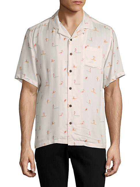 Graphic Button-Down Camp Shirt