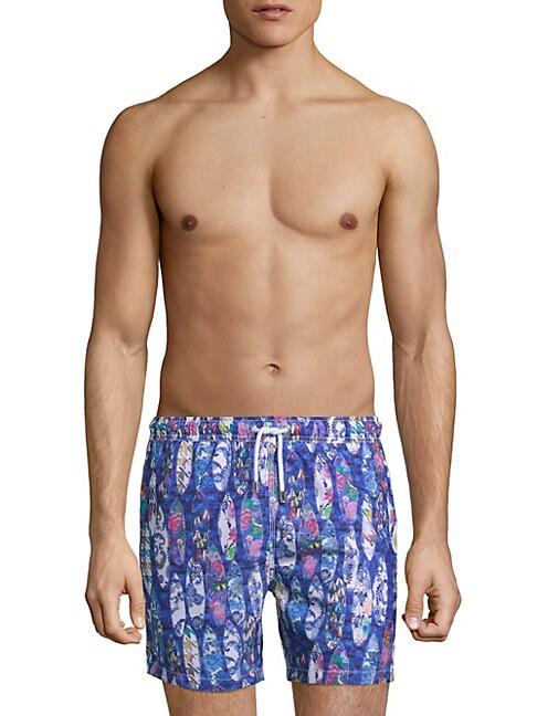 BERTIGO | Surfboard-Print Swim Shorts | Goxip
