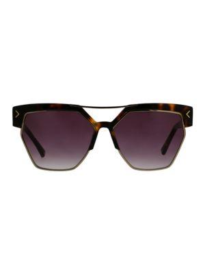 O BY OSCAR DE LA RENTA 59Mm Modern Geometric Rectangular Sunglasses in Brown Tortoise