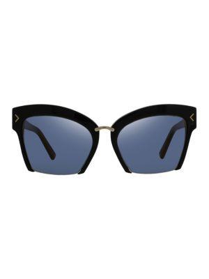 O BY OSCAR DE LA RENTA 55Mm Blunt Semi Rim Cat-Eye Sunglasses in Black