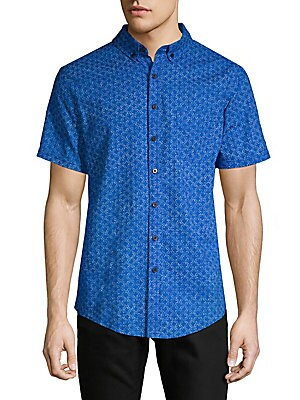 Jack Geometric Short-Sleeve Button-Down Shirt