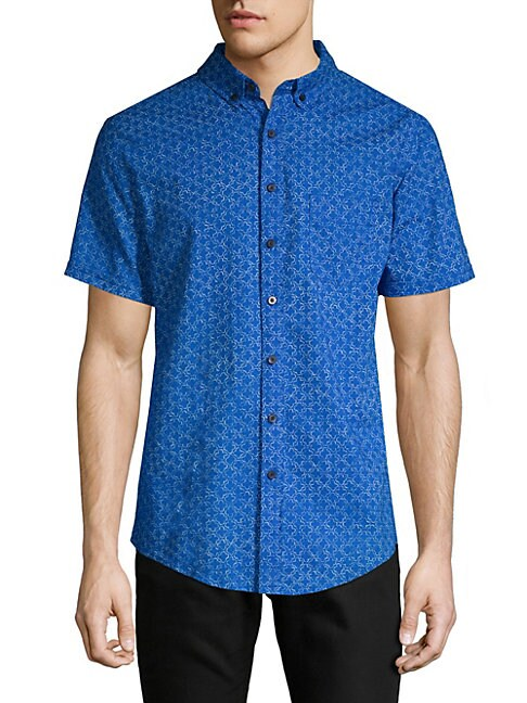 Jack Geometric Short-Sleeve Button-Down Shirt