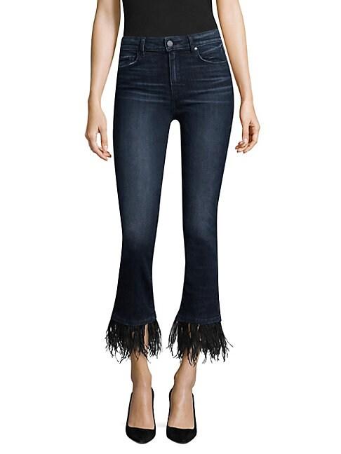 PAIGE | Exclusive Jacqueline Feather-Hem Jeans | Goxip