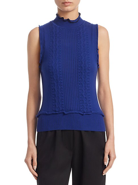 Sleeveless Ruffle Cotton Sweater