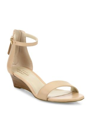 Adderly Grand Leather Low-Wedge Sandal, Neutral in Nude