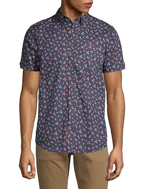 Palm Tree-Print Cotton Shirt