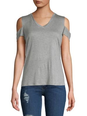 SWEET ROMEO Camouflage Cold-Shoulder Top in Grey