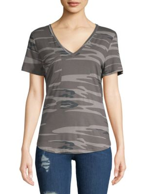 SWEET ROMEO Camouflage V-Neck Tee in Grey