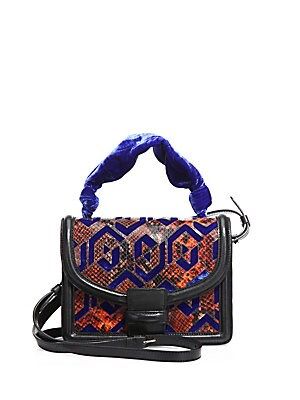 Velvet & Python-Embossed Leather Shoulder Bag