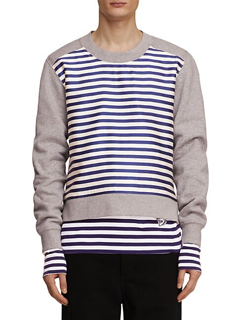 Brushed-Back Striped Panel Jersey Sweatshirt