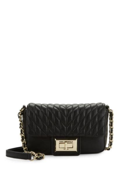 Embroidered Faux Leather Logo Crossbody by Karl Lagerfeld Paris