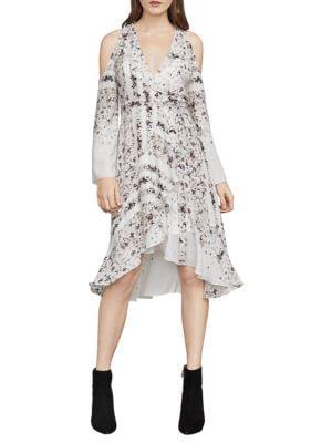 BCBGMAXAZRIA Cold-Shoulder Hummingbird-Floral Dress in Off White