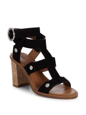 Nina Rivet Leather Ankle-Strap Sandals in Black