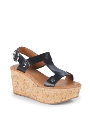 Dahlia Rivet Leather Wedge Sandals, Black