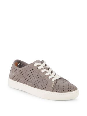 Perforated Lace-Up Sneaker, Dove Gray in Dove Grey