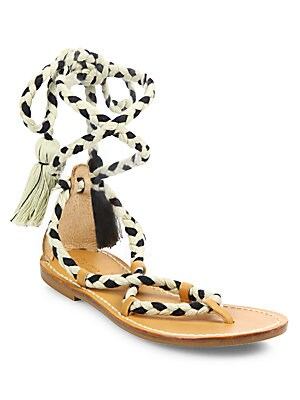 COTTON LACE-UP FLAT SANDALS