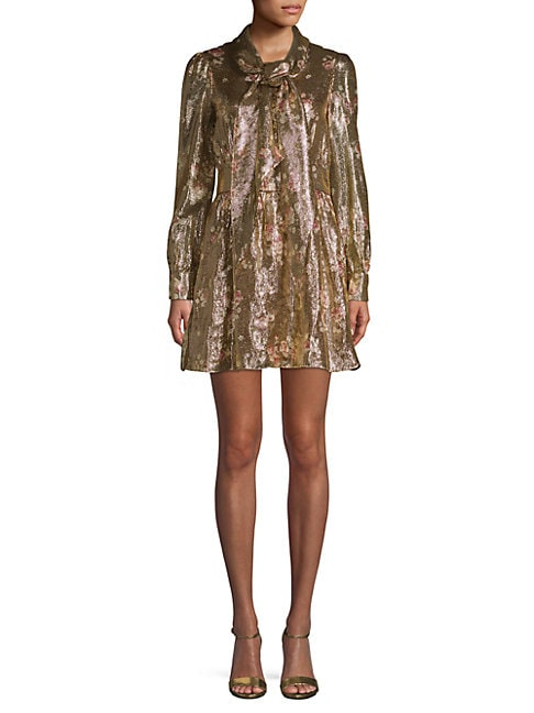 Haney FABIENNE METALLIC SILK-BLEND DRESS