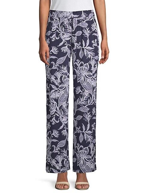 Tropical-Print Bootcut Pants