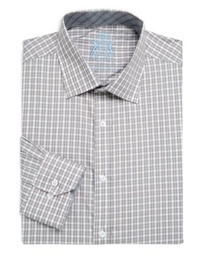 ENGLISH LAUNDRY Classic-Fit Check Dress Shirt, Gray in Grey Navy