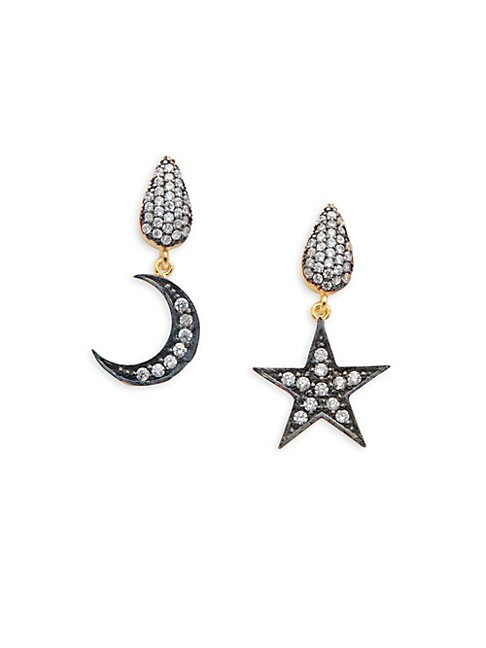AZAARA | Crystal and Sterling Silver Moon and Star Drop Earrings | Goxip