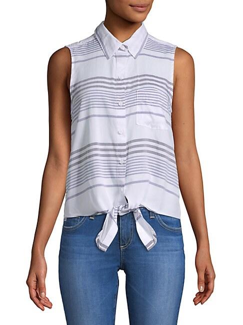 BEACH LUNCH LOUNGE   Striped Sleeveless Button-Down Shirt   Goxip