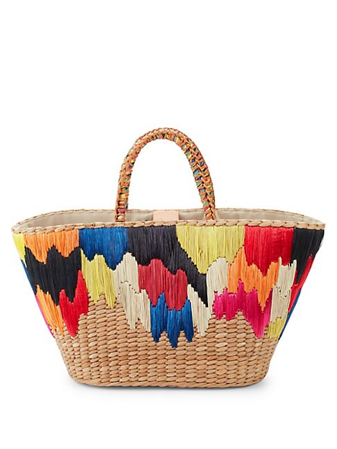 Ikat Embroidered Straw Tote