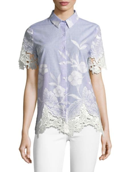 Long Sleeve Star Scalloped Top by Valentino