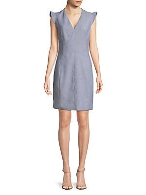 Capsleeve Chambray Shift Dress