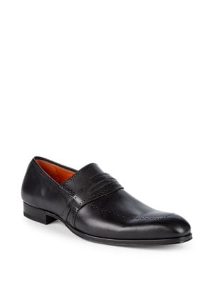 Bruni Leather Penny Loafers in Graphite