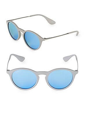 49MM Rounded Mirrored Sunglasses