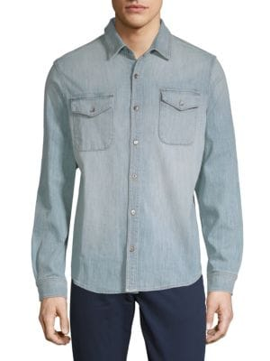 DTLA BRAND JEANS Woven Denim Button-Down Shirt in Light Indigo
