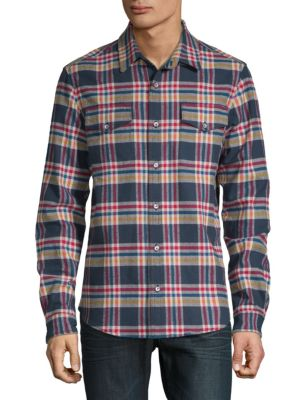 DTLA BRAND JEANS Plaid Flannel Cotton Button-Down Shirt in Red Plaid