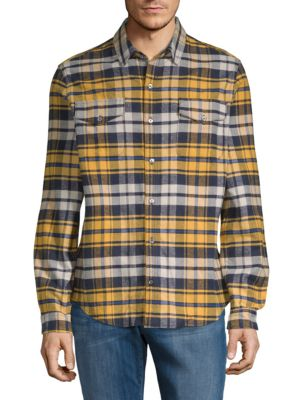 DTLA BRAND JEANS Plaid Flannel Cotton Button-Down Shirt in Yellow Plaid