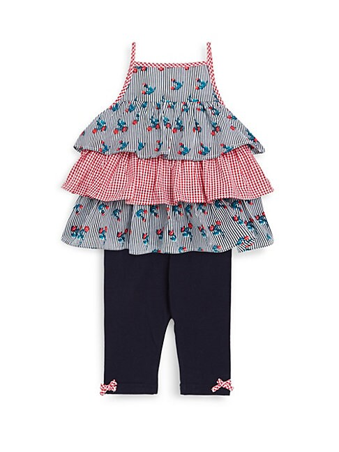 PIPPA & JULIE | Baby Girl's Two-Piece Striped Cotton Top and Leggings Set | Goxip