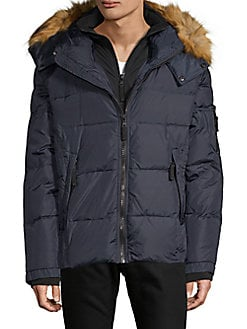 61e6424af7520 S 13 NYC. Faux Fur Trimmed Quilted ...
