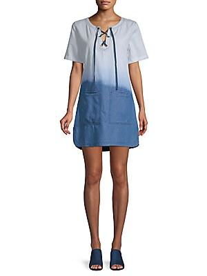 Everlane Lace-Up Denim Dress, Blue