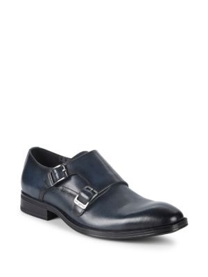 KARL LAGERFELD Double Monk-Strap Leather Loafers in Navy