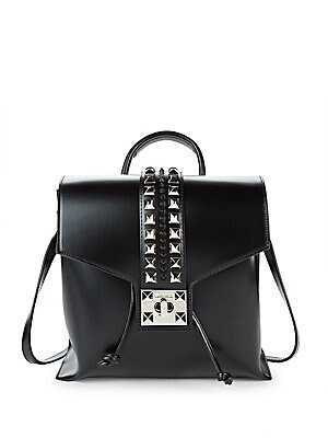 Olivier Embellished Leather Backpack, Black