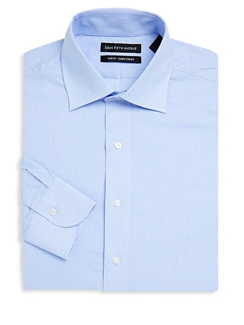 Small Windowpane Cotton Dress Shirt