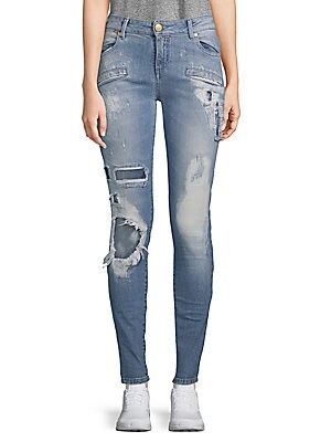 Stretch Cotton Ripped Jeans