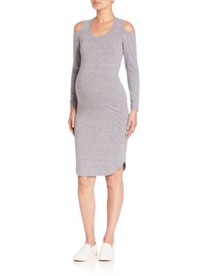 Monrow Maternity Heathered Cold-Shoulder Sheath Dress