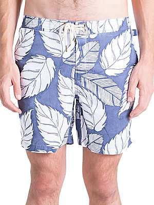 ORIGINAL PAPERBACKS Pool Side Swim Leaf-Print Board Shorts in Navy