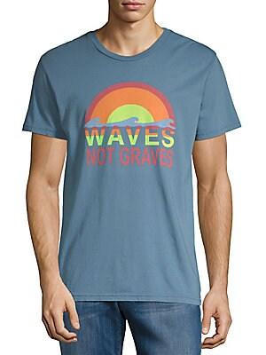 ORIGINAL PAPERBACKS Waves Cotton Tee in Blue