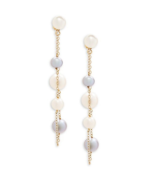 Belpearl 6.5-9MM WHITE & GRAY SEMI-ROUND FRESHWATER PEARL AND 14K YELLOW GOLD DANGLE EARRINGS