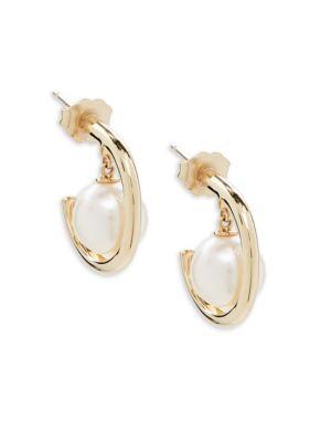 Belpearl 8MM Round Akoya Pearl & 14K Yellow Gold Earrings