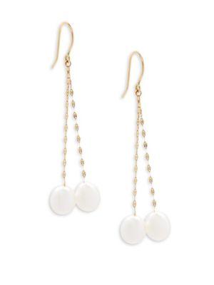 Belpearl 7-8MM White Drop Freshwater Pearl & 18K Yellow Gold Dangle Earrings