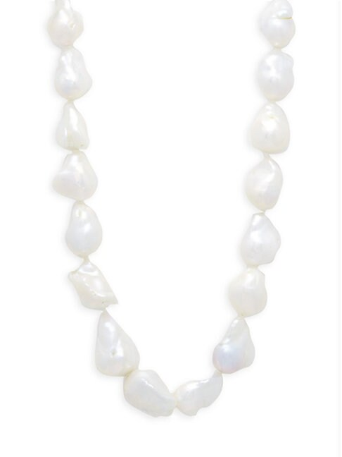 Belpearl 16-19MM WHITE BAROQUE FRESHWATER PEARL & 14K WHITE GOLD NECKLACE