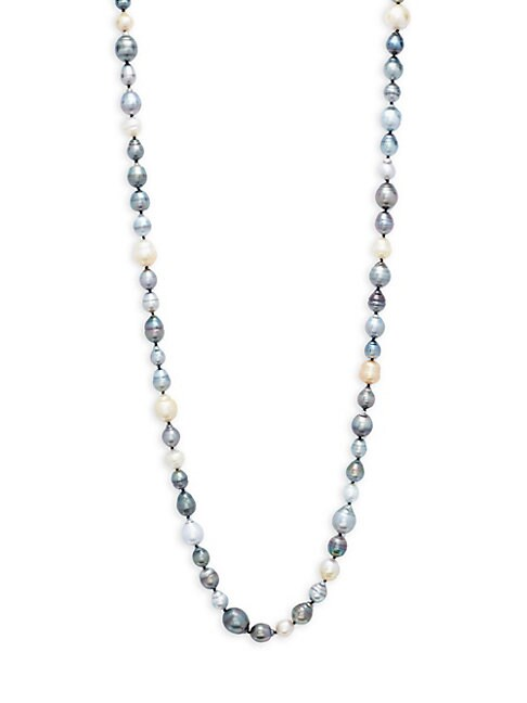 Belpearl 10-14MM MULTICOLOUR DROP SOUTH SEA & TAHITIAN PEARL & 14K WHITE GOLD NECKLACE